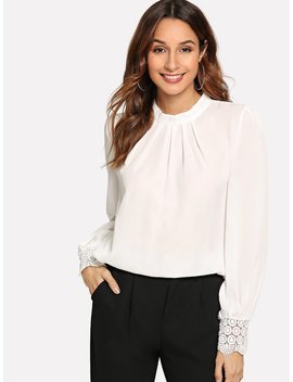 Contrast Lace Solid Blouse by Sheinside