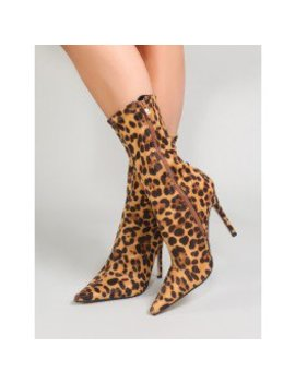 Direct Pointy Sock Boots In Leopard Print by Public Desire