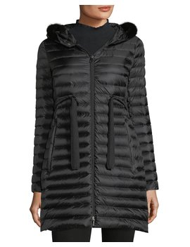 Barbel Quilted Puffer Coat With Fur Trim by Moncler