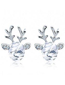 Set Mei Crystal Gemstone Earrings Luxury Three Dimensional Christmas Reindeer Earing (White) by Set Mei