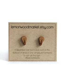 Light Bulb Earrings   Alder Laser Cut Wood Earrings by Etsy