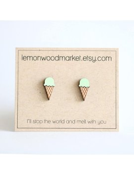 Ice Cream Cone Earrings   Alder Laser Cut Wood Earrings   Ice Cream Earrings   Laser Engraved Earrings   Mint Green Ice Cream by Etsy