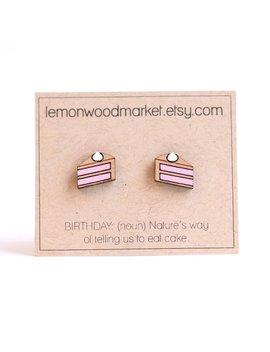 Birthday Cake Earrings   Alder Laser Cut Wood Earrings   Cake Slice Earrings by Etsy