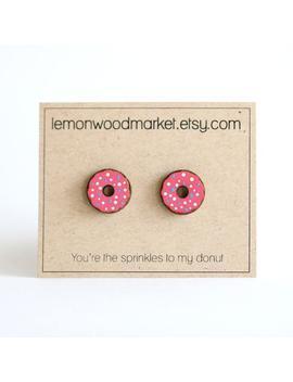 Donut Earrings   Alder Laser Cut Wood Earrings   Ice Cream Earrings   Laser Engraved Earrings   Pink Donut Earrings by Etsy