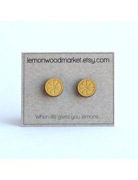 Lemon Earrings   Spring Earrings   Alder Laser Cut Wood Earrings by Etsy
