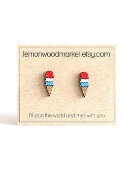 Patriotic Earrings   Alder Laser Cut Wood Earrings   Ice Cream Cone Earrings   Red White And Blue Earrings by Etsy