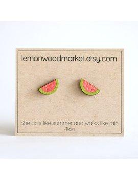 Watermelon Earrings   Alder Laser Cut Wood Earrings   Fruit  Earrings   Cook Gift   Cook Earrings  Chef Earrings   Watermelon Slice Earrings by Etsy