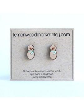 Snowman Earrings   Alder Laser Cut Wood Earrings   Christmas Earrings by Etsy