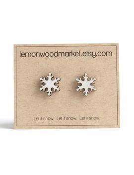 Snowflake Earrings   Alder Laser Cut Wood Earrings   Christmas Earrings by Etsy