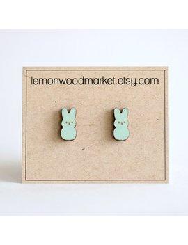 Peep Earrings   Alder Laser Cut Wood Earrings   Easter Earrings by Etsy