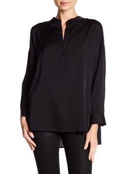Silk Blend Split Collar Blouse by Vince