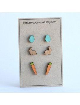 Easter Earrings   Alder Laser Cut Wood Earrings   Easter Bunny And Carrot Earring Set by Etsy