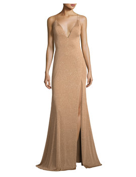 Metallic V Neck Strappy Gown by Neiman Marcus