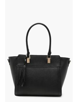 Tassel Detail Crosshatch Structured Tote by Boohoo