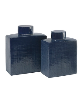 Blue Wilfred Ceramic Canisters, Set Of 2 by Kirkland's