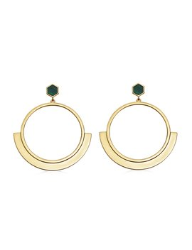 Gold Rhea Malachite Front Facing Hoops by Missoma