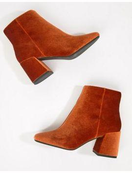 Asos Design – Rural – Ankle Boots Aus Samt by Asos Design