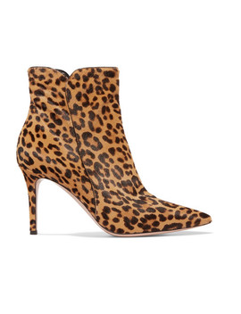 Levy 85 Leopard Print Calf Hair Ankle Boots by Gianvito Rossi
