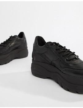 Черные кожаные кроссовки на толстой подошве Steve Madden Girla by Asos