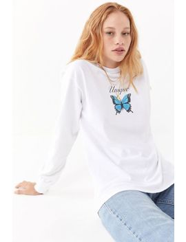 Unique Butterfly Long Sleeve Tee by Urban Outfitters
