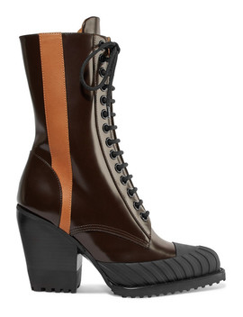 Rylee Two Tone Glossed Leather Ankle Boots by Chloé