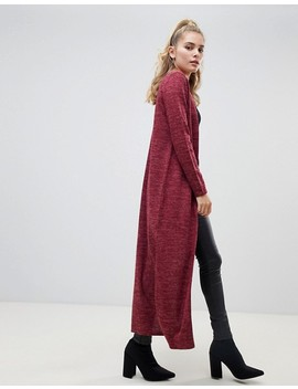 Boohoo Maxi Side Split Cardigan In Wine by Boohoo