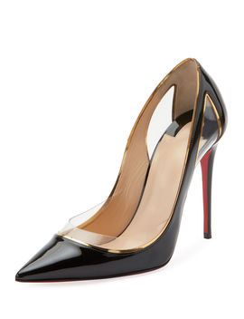 Cosmo 554 Patent/Vinyl High Heel Red Sole Pumps by Christian Louboutin