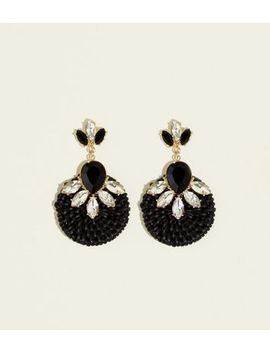 Black Crystal Raffia Earrings by New Look