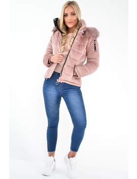 Pink Velour Fur Hood Puffer Jacket   Eastlynn by Rebellious Fashion