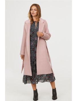 Filcowany Płaszcz Z Paskiem by H&M