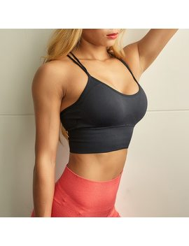 Orange Pink Seamless Women Sports Bra Sexy Crisscross Strappy Padded Wirefree Running Crop Top Bras Shakeproof Yoga Bra 2018 by Inwiki