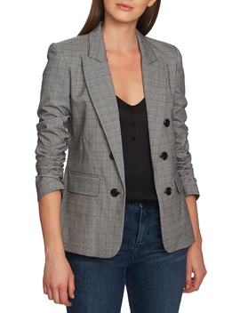 Ruched Sleeve Glen Plaid Blazer by 1.State