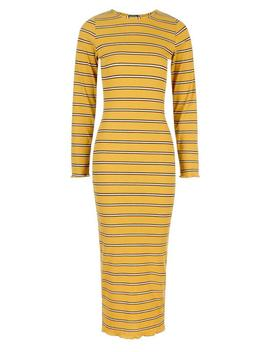 Stripe Rib Long Sleeve Midaxi Dress by Boohoo