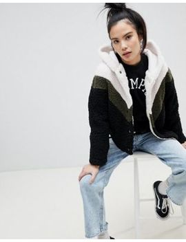 Pull&Bear Chevron Hooded Fluffy Cardi by Pull&Bear