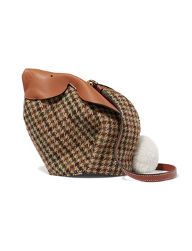 Bunny Mini Shearling Pompom Embellished Tweed And Textured Leather Shoulder Bag by Loewe