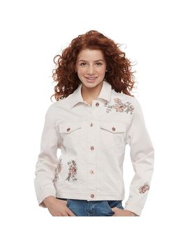 Juniors' Candie's® Floral Embroidered Denim Trucker Jacket by Juniors' Candie's