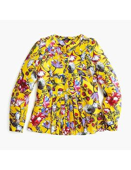 Petite Silk Pleated Popover In Floral Print by J.Crew
