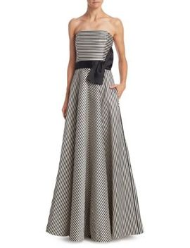 Strapless Stripe Bow Gown by Halston Heritage