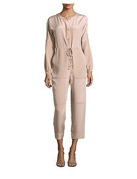 Tibi Button Down Silk Cropped Jumpsuit by Tibi
