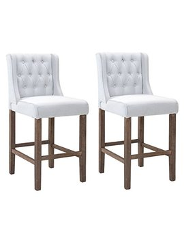 Homcom Modern Bar Height Fabric Wingback Dining Chairs Tufted Buttons   Cream White   Set Of 2 Chairs by Homcom