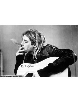 Poster Kurt Cobain (Smoking) With Guitar Black & White Music 36 X 24in by Poster