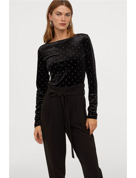 Velour Top With Sparkly Stones by H&M