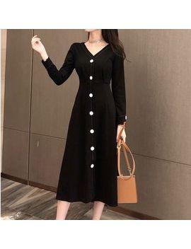 Vanci   Long Sleeve Buttoned Midi A Line Dress by Vanci
