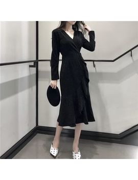 Vanci   Long Sleeve V Neck Midi Sheath Dress by Vanci