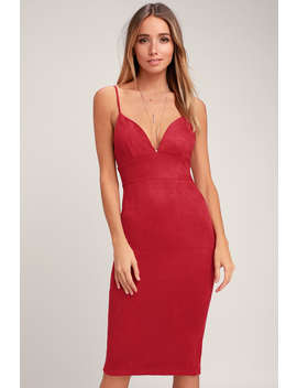 Dynamic Diva Wine Red Suede Bodycon Midi Dress by Lulus