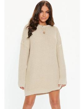 Stone Oversized Chunky Knitted Dress by Missguided