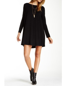 Long Sleeve Boatneck Dress by Go Couture