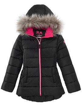 Big Girls Ashlyn Hooded Jacket With Faux Fur Trim by Rm 1958