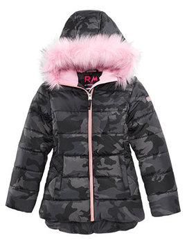 Big Girls Ashlyn Camo Print Hooded Jacket With Faux Fur Trim by Rm 1958