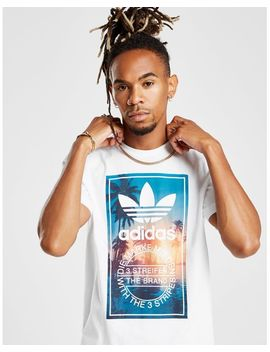 Men's Blue Trefoil Photo Palm T Shirt by Adidas Originals